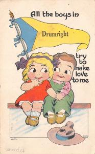 Drumwright OK All the Boys Try to Make Love To Me~Pennant Postcard c1913