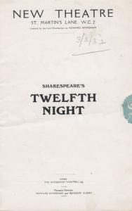 Shakespeare Twelth Night Cecil Ramage St Martins Theatre London Programme