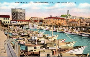 California San Francisco Fisherman's Wharf Showing Telegraph Hill