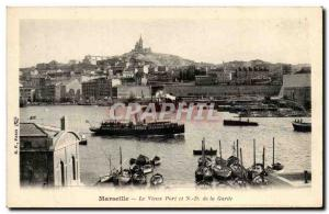 Old Postcard Marseille The old port and ND Guard
