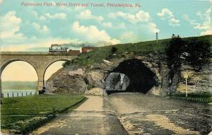 Philadelphia PA~River Drive and Tunnel Under Steam Locomotive Train~c1914