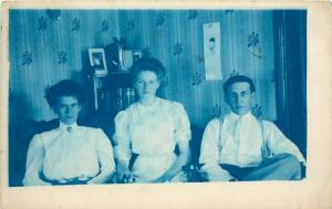 1907 Cyanotype RPPC Postcard 3 Young People in Victorian Interior Oregon City OR