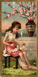 A JOYOUS CHRISTMAS - BOOKMARK - CARD - GIRL FLOWERS BIRDS