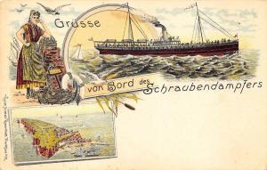 Gruss von Bord des Schraubendampfers Ship Pioneer Postcard
