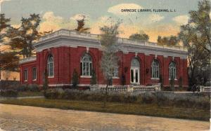 Flushing New York Carnegie Library Street View Antique Postcard K90810