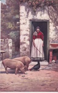 TUCK #753; Tit Bits, Woman overlooking Pigs and chicken feeding, 1900-10s