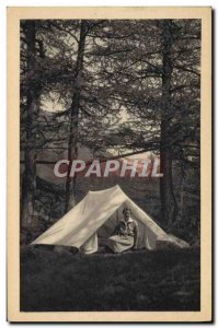 Old Postcard Scout Jamboree Scout den mother in the Camping Tent Camp