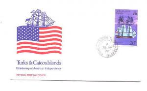 1976, First Day Cover, Turks and Caicos Islands American Independence