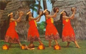 Kent Gihrard's Hula Nani Girls in Pahu Skirts, Hawaii, un...