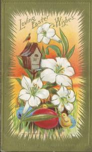 Loving Easter Wishes Greetings Bird BirdhouseChicks Flowers Vintage Postcard