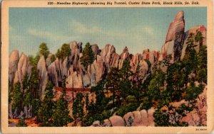 Needles Highway Big Tunnel Custer State Park Black Hills SD Linen Postcard
