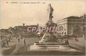 Postcard Old Cannes monument edward VII