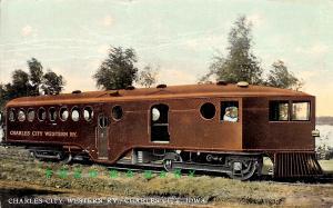 1912 Charles City Iowa PC: Gasoline-Powered Railway, Engineer Aboard