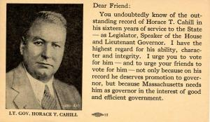 MA - U.S. Postal Card (Jefferson 1-cent green) Political Ad for Lt. Gov. Hora...