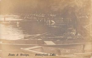 Butterfield Lake New York Boats and Stumps Real Photo Vintage Postcard JA454676