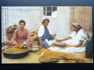 ?Palestine Judea JERUSALEM Peasants Grinding Corn c1930 Postcard by Photochrom