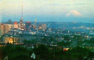 Washington Seattle Sunset On Mount Rainier From Queen Anne Hill