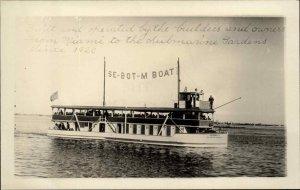 Eureka II Se-Bot-M Boat Miami to Submarine Gardens Real Photo Postcard