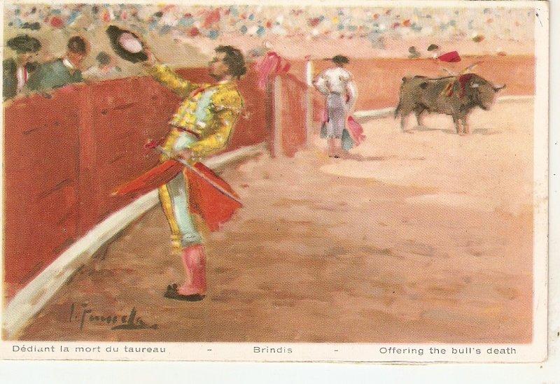Bullffighting. Bridis. Offering the bull's deat Old vintage Spanish postcard