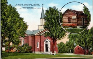 Vintage Postcard Abe Lincoln Marriage Temple Harrodsburg Old Kentucky   296