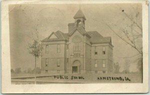 1907 ARMSTRONG, Iowa RPPC Real Photo Postcard PUBLIC SCHOOL Building View