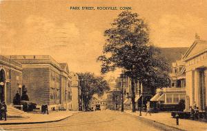 Rockville CT Post Office Street View 1939 Postcard