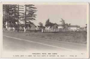 1958 BATHURST New Brunswick NB Canada Real Photo RPPC Postcard FERGUSONS MOTEL