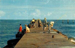 Texas Corpus Christi Fishing Pier Of Aransas Pass 1957