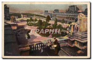Paris Old Postcard Perspective of the gardens of the Louvre and the Tuileries