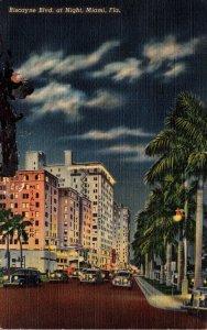 Florida Miami Biscayne Boulevard At Night 1943 Curteich