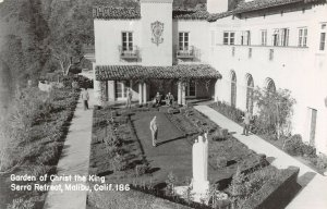 LPS22 Malibu California Serra Retreat Garden of Christ the King Postcard RPPC