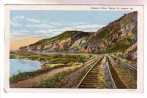 Railway Tracks Missouri River Bluffs St Joseph Missouri, Shaffer News Agency