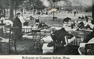 MA - Salem, 1914. Refugees on the Common after great fire