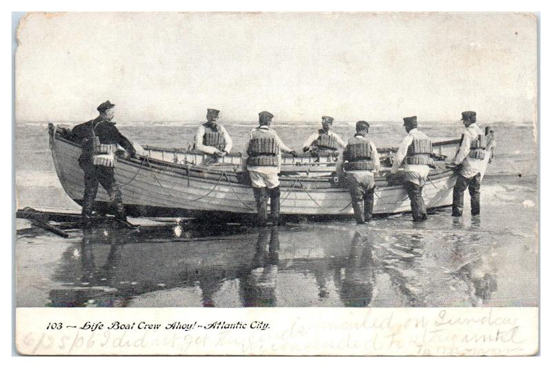Early 1900s US Life Saving Service, Life Boat & Crew, Atlantic City, NJ Postcard