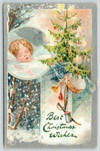 Christmas~Child Dreams~Candle Tree Toys~Drum Sword Wagon~Snowfall~Silver~TUCK