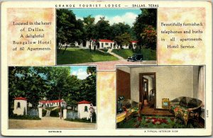 Dallas, Texas Postcard GRANDE TOURIST LODGE 3 Views Motel Roadside c1930s Unused