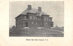 Newport New Hampshire Richards High School Street View Antique Postcard K79837