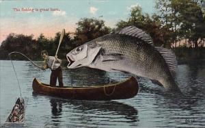 Exageration Giant Fish Jumping Into Boat 1915