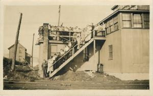 Folk Stand On Stairs~Train Tracks RPPC 1916 Clara E Levendusk~921 Norwich Ave