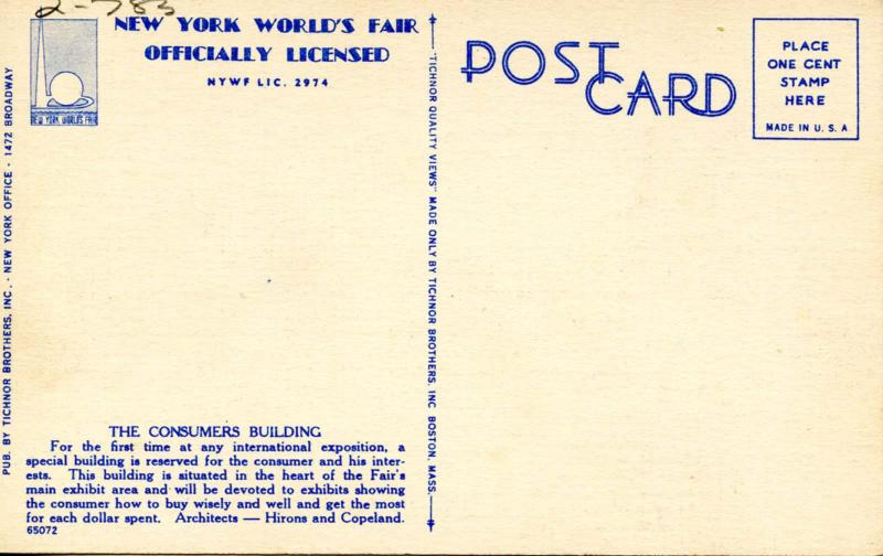 NY - New York World's Fair, 1939. Building of Consumer Interests