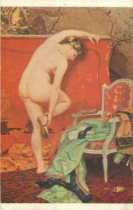 The sandal pinup lady by H. Montassier Tsarist Russia oriental art deco postcard