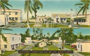 Autos Miami Florida 1961 Ritzhaven Court roadside Postcard linen Thomas 5646