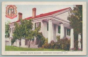 Jamestown Virginia~Jamestown Exposition~GA State Building~Georgia Seal~Postcard