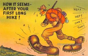 Military Comic Postcard, Old Vintage Antique Post Card Big Feet Unused
