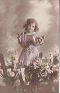 RP: HAPPY BIRTHDAY, 1900-10s; Pretty Girl in pink picking Daisies