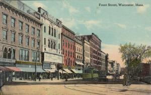 WORCESTER, Massachusetts, 1900-10s ; Front Street, Trolley
