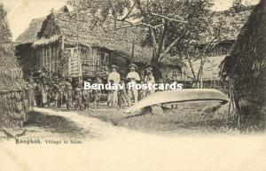 siam thailand, BANGKOK, Village Scene with native Children (1899) Postcard