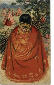Native Indian Woman MECHANICAL NOVELTY PAPOOSE Jaques Mfg Co Baking Powder