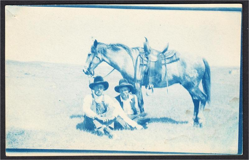 Two Cowboys and Horse Cyanotype Real Photo Postcard 1900s-1910s