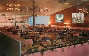 Logansport Indiana~The Gourmet Restaurant~Interior~Pink Booths~1960s Postcard